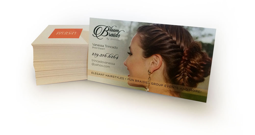 Bloom Braids perfect business cards designed and printed by ReachMiami